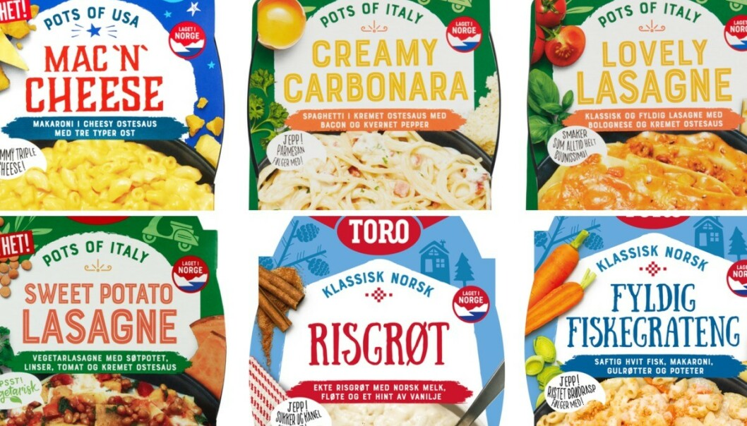 Orkla Foods Norge kaller tilbake seks ulike Toro Ferske Ferdigretter på grunn av kvalitetsavvik på smak. Foto: Toro / NTB scanpix