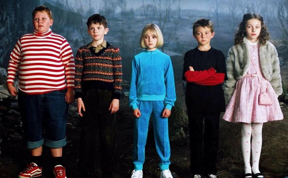 BARNESTJERNER: Slik så det ut da (f. v.) Philip Wiegratz, Freddie Highmore, AnnaSophia Robb, Jordan Fry og Julia Winter spilte i «Charlie og sjokoladefabrikken» i 2005. FOTO: Warner Bros. Pictures