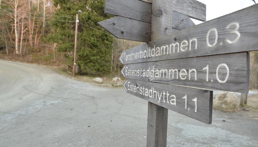 To personer ble funnet død av en turgåer i Estenstadmarka, Trondheim onsdag. Foto: Ned Alley / NTB scanpix