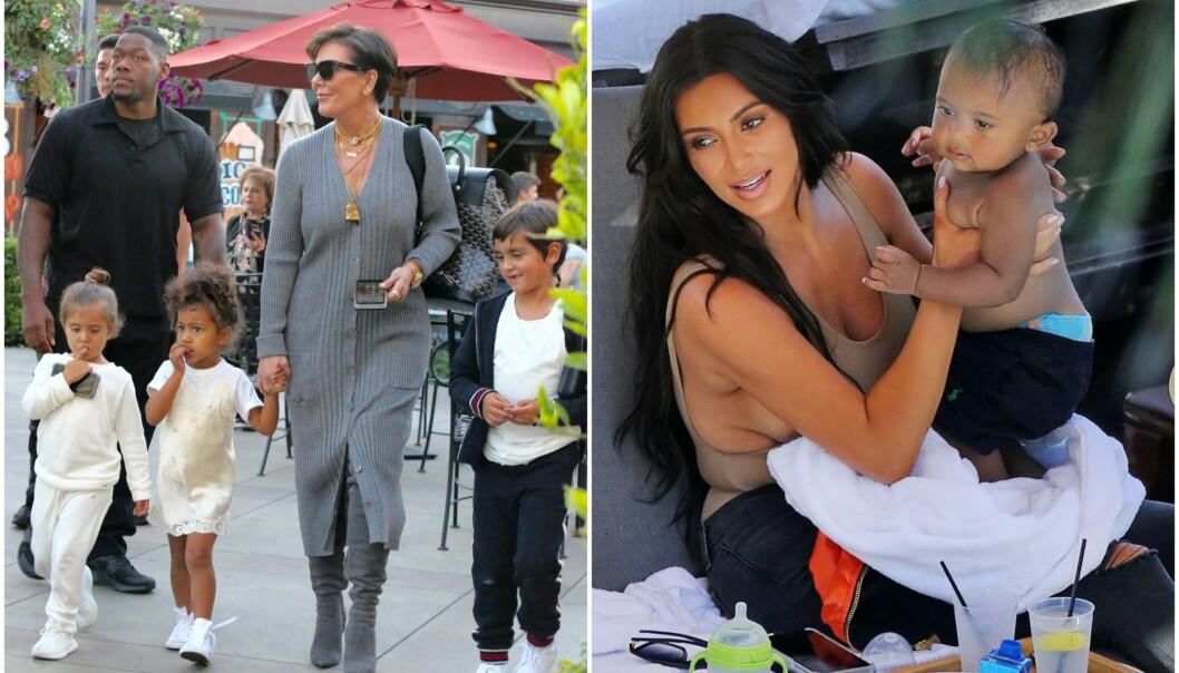 <strong>BESTEMOR TIL NI:</strong> Kris Jenner har ni barnebarn, og i et nytt intervju forteller hun om sykehusbesøk med to av barnebarna, Mason (midten) og Saint (t.h.). Foto: NTB scanpix