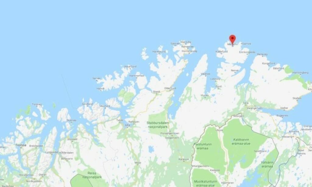 ÅSTED: Mannen ble funnet død i Mehamn, lengst nord i Finnmark. Kart: Google maps