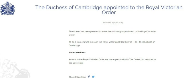 Title announced: The new title has been announced to this day by the British royal family. Facsimile: Royal.uk