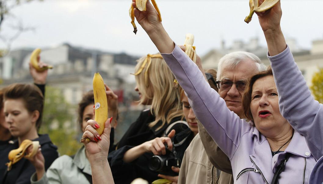 Polakker med bananer demonstrerer utenfor nasjonalgalleriet i Warszawa mandag. Foto: Czarek Sokolowski / AP / NTB scanpix