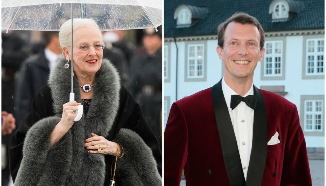 IKKE TIL STEDE: Da dronning Margrethe av Danmark feiret sin 79-årsdag tidligere i april, var ikke yngstesønnen hennes, prins Joachim, å skimte. Kongehuset vil ikke fortelle hvorfor han glimret med sitt fravær. Begge bildene er tatt i tidligere anledninger. Foto: NTB scanpix
