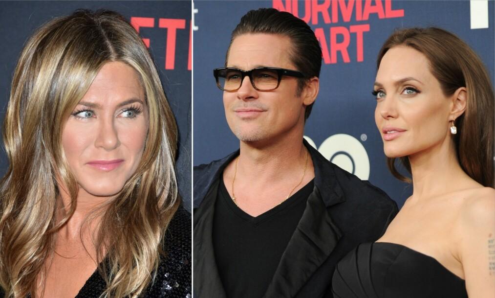 TREKANTDRAMA: I 2005 skilte Jennifer Aniston og Brad Pitt seg. Kort tid senere innlededt sistnevnte et forhold til Angelina Jolie, som han møtte mens han fremdeles var gift. Foto: NTB Scanpix