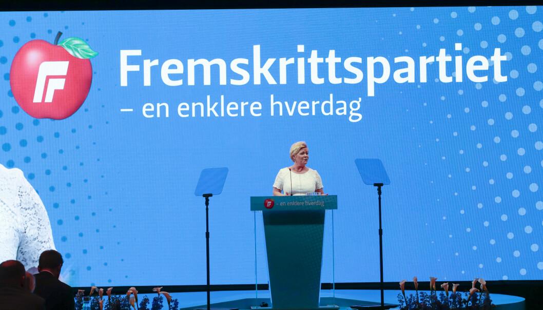 Siv Jensen holder åpningstalen på Frp sitt landsmøte 2019. Foto: Lise Åserud / NTB scanpix