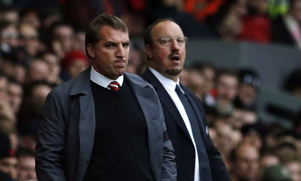 TIDLIGERE SJEFER: De har begge vært manager i Liverpool. Nå kan Brendan Rodgers og Rafael Benitez hjelpe eller ødelegge for rødtrøyene. Foto: NTB Scanpix
