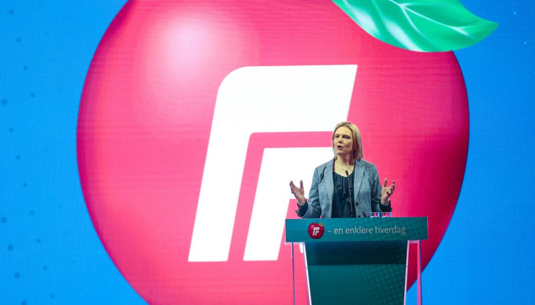 Frps påtroppende nestleder Sylvi Listhaug ber partiet si et klart nei til kvoteflyktninger. Men i resten av regjeringen får forslaget ingen støtte. Foto: Lise Åserud / NTB scanpix