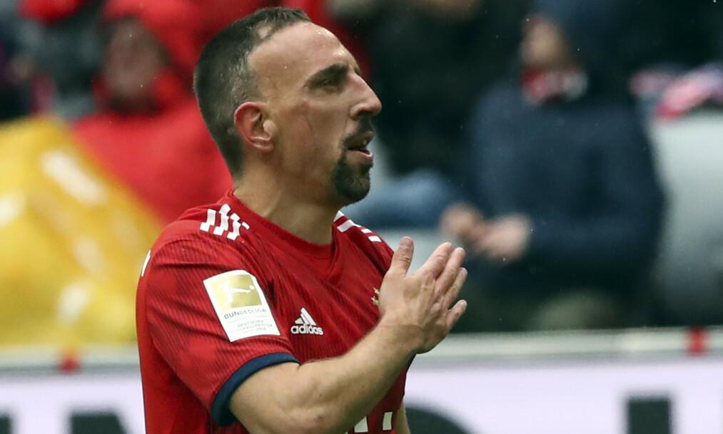FERDIG: Franck Ribéry er inne i sin siste sesong i Bayern München. Foto: AP Photo / Matthias Schrader