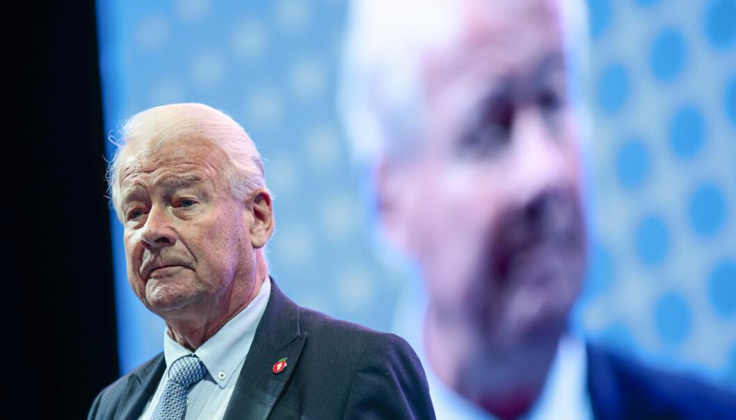 Carl I. Hagen på Frps landsmøte 2019 på Gardermoen søndag. Foto: Lise Åserud / NTB scanpix