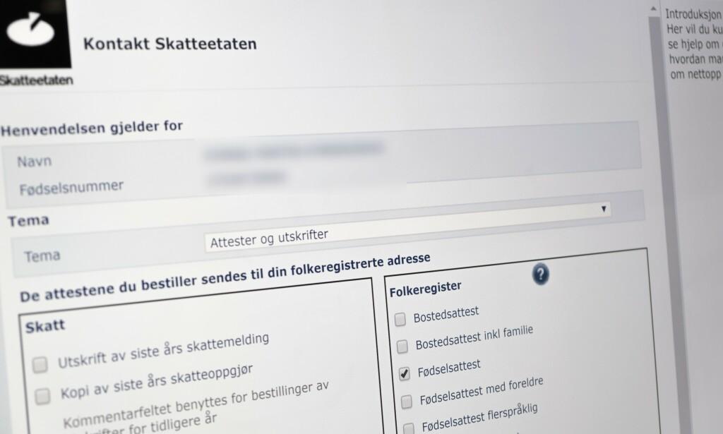 MÅ BESTILLES: Nå kommer fødselsattesten digitalt, og du må bestille på nett hvis du ønsker en papirkopi. Foto: Martin Kynningsrud Størbu
