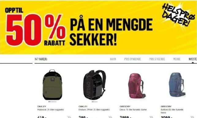 Forbrukertilsynet reagerer på denne annonsen. Foto. Skjermdump