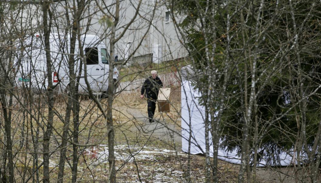 Det var her i et skogholt på Ammerud at 35 år gamle Dan Johnny Myhre ble funnet partert i en koffert på morgenen 29. april 2016. Foto: Håkon Mosvold Larsen / NTB scanpix