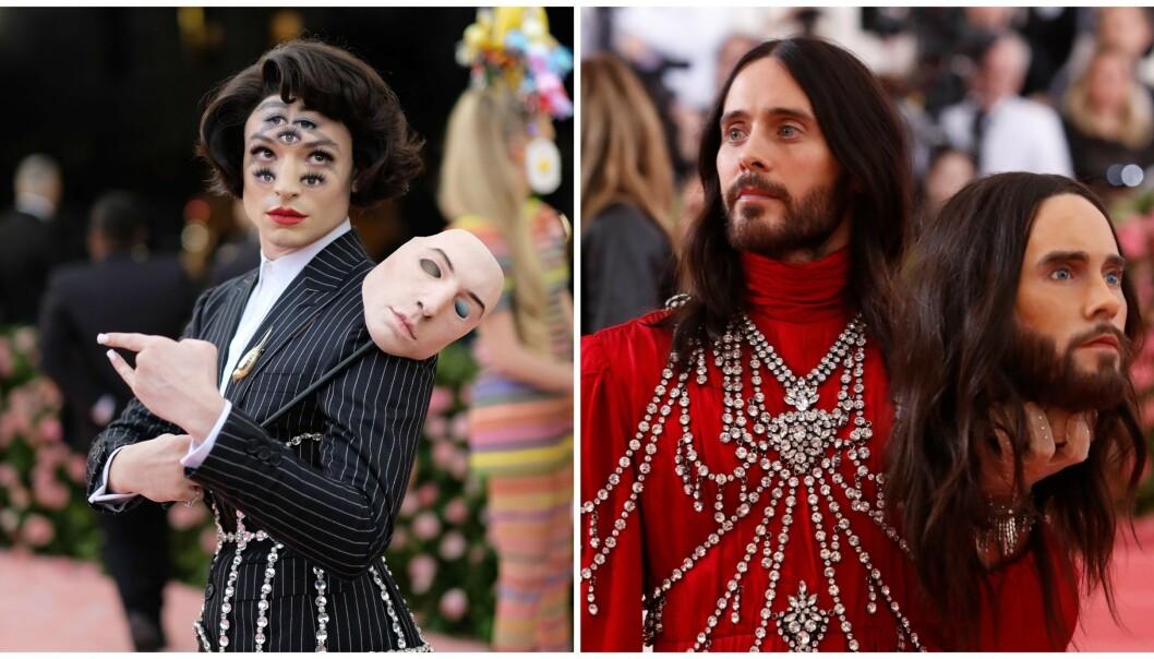 OVERRASKET: Skuespiller Ezra Miller og artist Jared Leto er noen av dem som skaper overskrifter etter årets Met-galla. Det er kanskje ikke så rart. Foto: NTB scanpix
