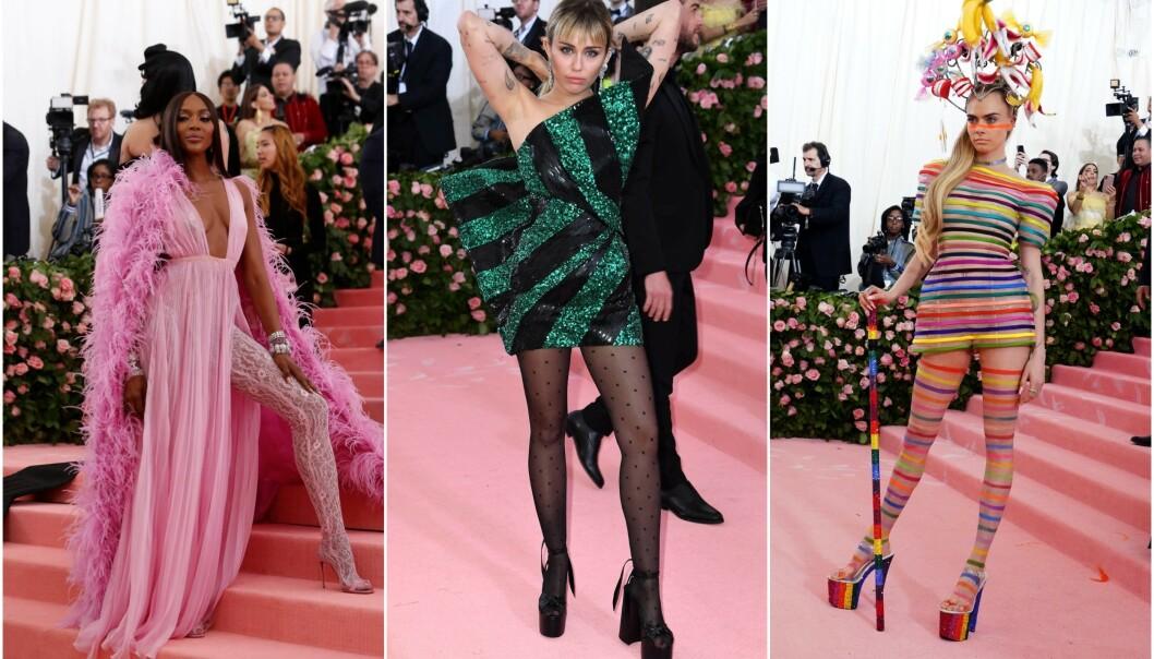 MANGE TOLKNINGER: Naomi Campbell, Miley Cyrus og Cara Delevigne tolket alle årets tema på forskjellige måter. I forkant av årets galla uttalte Vogue-sjef Anna Wintour at hun ikke ante hva folk skulle ha på seg. Foto: NTB scanpix