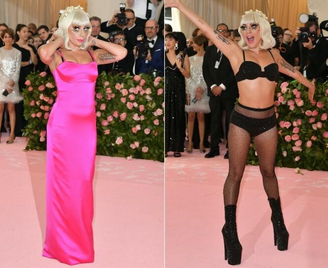 ANNENHVER: Deretter gikk Gaga tilbake til rosa, før hun sto igjen i bare undertøyet. Alle klærne var laget av Brandon Maxwell. Foto: NTB scanpix