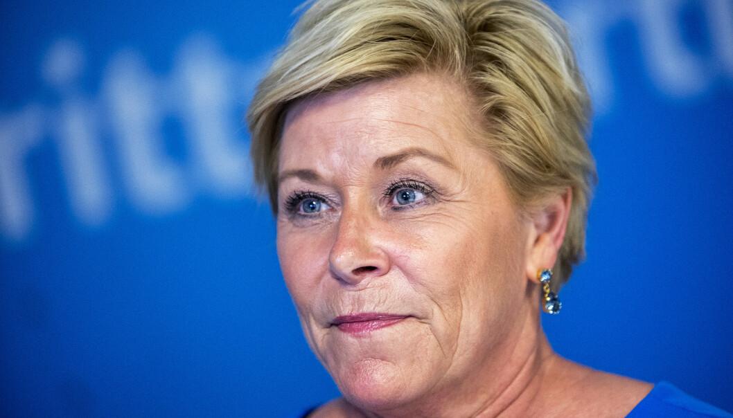 """Siv Jensen har ved flere anledninger kommet med stikk mot venstresiden. Det siste kom i form av en uttalelse på Frps landsmøte hvor hun sa """"vi skal knuse de jævla sosialistene"""". Foto: Ole Berg-Rusten / NTB Scanpix"""