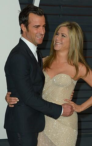<strong>ANDRE SKILSMISSE:</strong> Jennifer Aniston og Justin Theroux kunngjorde at de skulle skilles etter to år som gift, i fjor. Foto: NTB SAcanpix