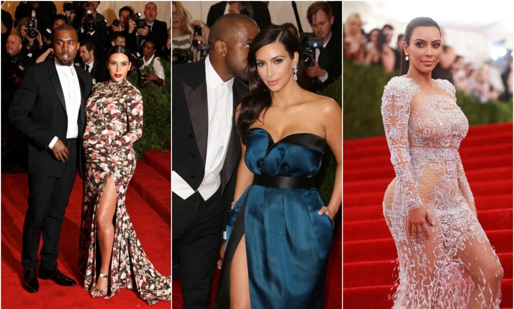DELTATT I SEKS ÅR: Realitydronningen Kim Kardashian West har vært gjest under Met-gallaen seks ganger. Nå forteller hun om hvordan de ulike årene opplevdes. Foto: NTB Scanpix