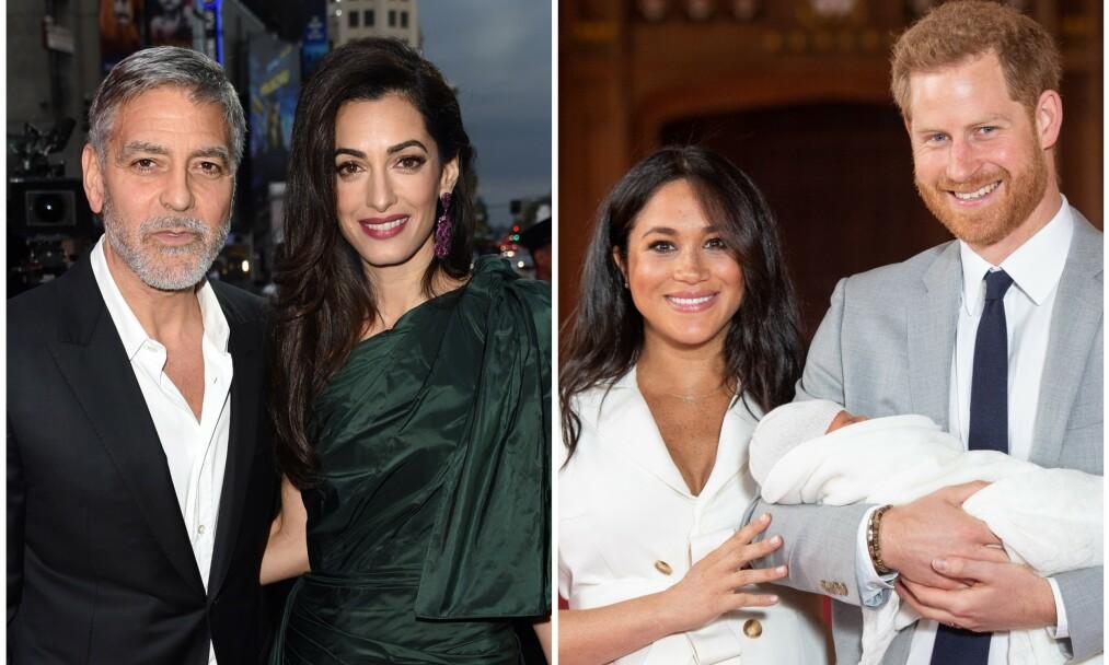 FAMILIELIV: George og Amal Clooney har en travel hverdag som tvillingforeldre. Nå er også deres gode venner prins Harry og hertuginne Meghan blitt foreldre. Foto: NTB Scanpix