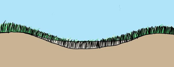 1. Fyll i jord i bunnen av fordypningen. Bruk akkurat så mye at gresset stikker opp.