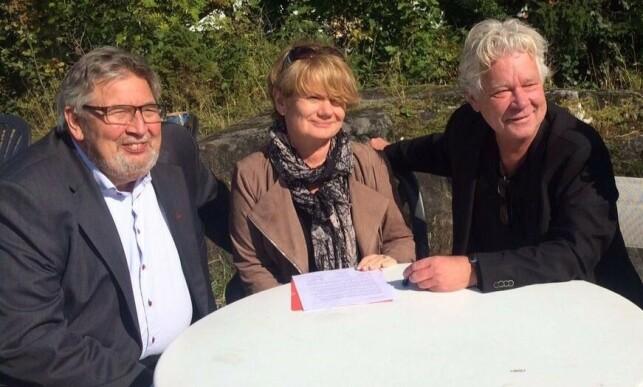 TORDNER: Ordførerne Ole Jacob Flæten (Ap), Ragnhild Bergheim (Ap) og Øistein Sand (Ap) tordner mot Listhaugs utspill. Foto: Privat
