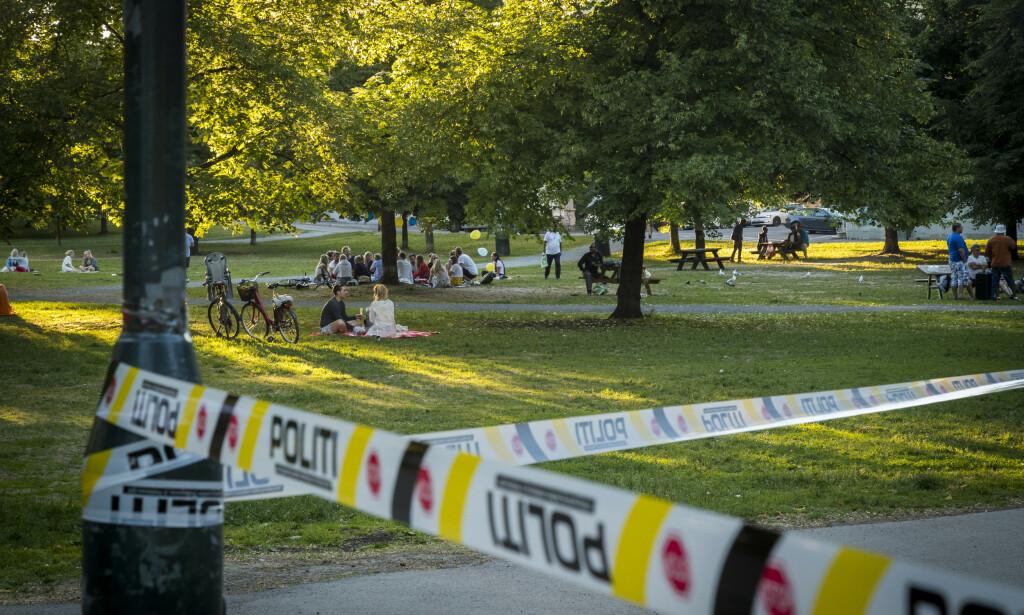 To personer er tiltalt for drapsforsøk etter en hendelse i Sofienbergparken i Oslo i juni i fjor. Totalt er tre personer tiltalt i saken, mens to brødre er de fornærmede i rettssaken som starter i august. Foto: Heiko Junge / NTB scanpix