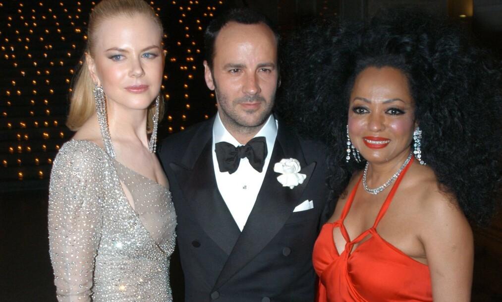<strong>STOR STJERNE:</strong> Diana Ross, her avbildet med Nicole Kidman og Tom Ford i 2003, er en verdenskjent artist - men det skal ikke ha spilt noen rolle på en flyplass nylig. Foto: NTB scanpix