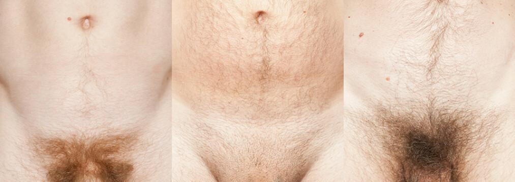 <strong>MANN (20), MANN (44) OG MANN (65):</strong> Tre menn i forskjellige aldre forteller om penisen sin, sine usikkerheter og hvordan synet på den har forandret seg gjennom årene. Foto: Laura Dodsworth.
