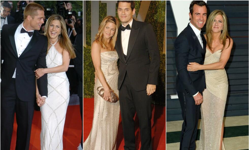 IKKE GITT OPP: Blandet hell i kjærlighetslivet til tross, filmstjernen Jennifer Aniston (50) påpeker at hun ikke utelukker å finne kjærligheten på ny. Her med sine kanskje mest berømte ekser, Brad Pitt, John Mayer og Justin Theroux. Foto: NTB ScanpixVis mer