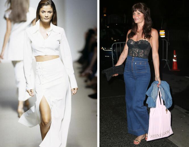 FØR OG NÅ: 27 år skiller disse to bildene. Det til venstre er tatt under en Jil Sander-visning i Milano i 1992, mens bildet til høyre er tatt mens Helena er på vei til Gigi Hadids 24-årsdag i april 2019. FOTO: NTB Scanpix