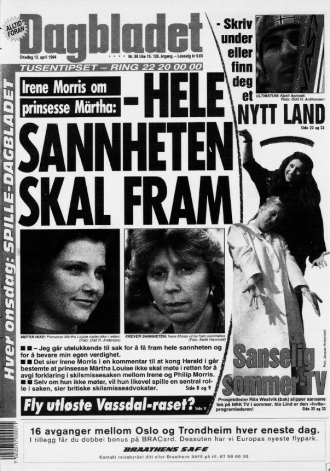 SKAPTE OVERSKRIFTER: Dramaet mellom prinsesse Märtha Louise og ekteparet Morris ble dekket tett - også i Dagbladet. Denne forsida er fra april 1994. Faksimile: Dagbladet