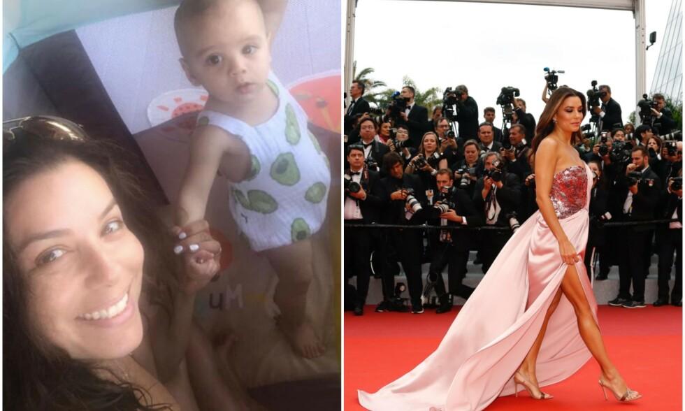 I TOPPFORM: F.v: Eva Longoria med sin lille hjerteknuser Santiago. T.h: Tirsdag ettermiddag strålte ettbarnsmoren under filmfestivalen i Cannes. Foto: Instagram/NTB Scanpix