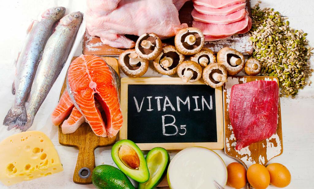 VITAMIN B5: Pantotensyre finnes blant annet i kjøtt, kornprodukter, melkeprodukter og grønnsaker.