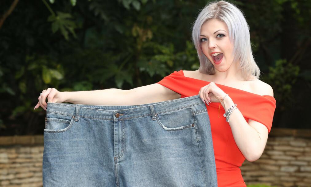 ENDRET LIVET: Britiske Lucie Hadley raste ned i vekt etter å ha meldt seg inn i en slankeklubb. Det har endret flere aspekter ved livet hennes. Foto: NTB scanpix