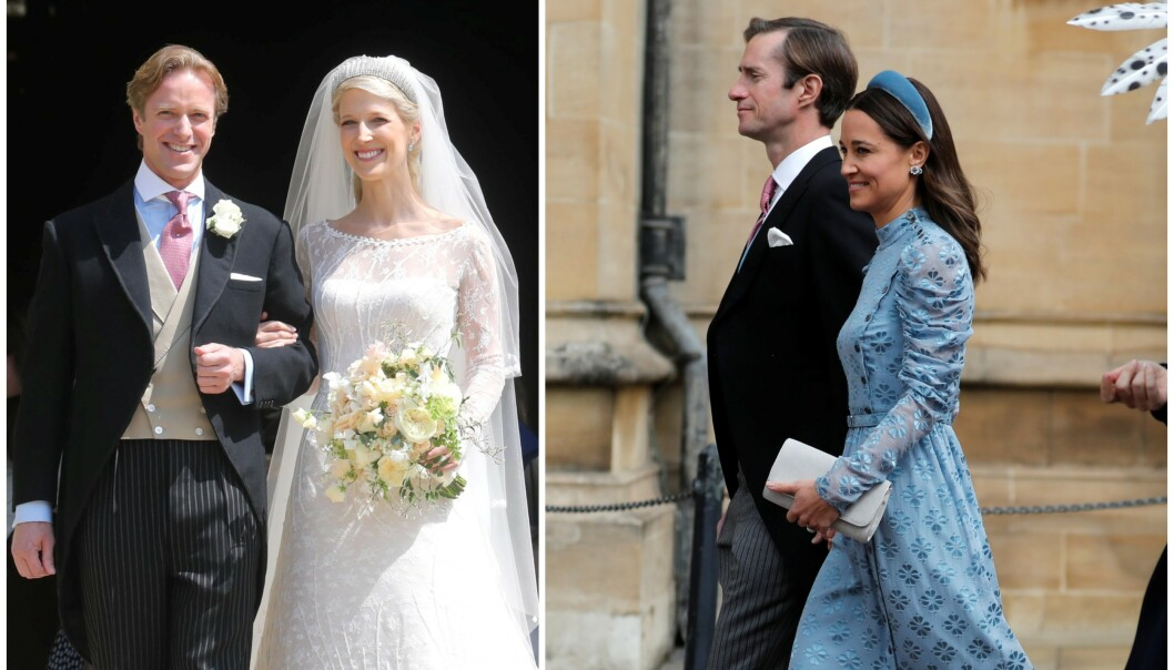 <strong>GIFTET SEG:</strong> Lady Gabriella Windsor giftet seg lørdag ettermiddag med Thomas Kingston (t.v). Én av gjestene vekker derimot store mengder oppsikt. Foto: NTB scanpix