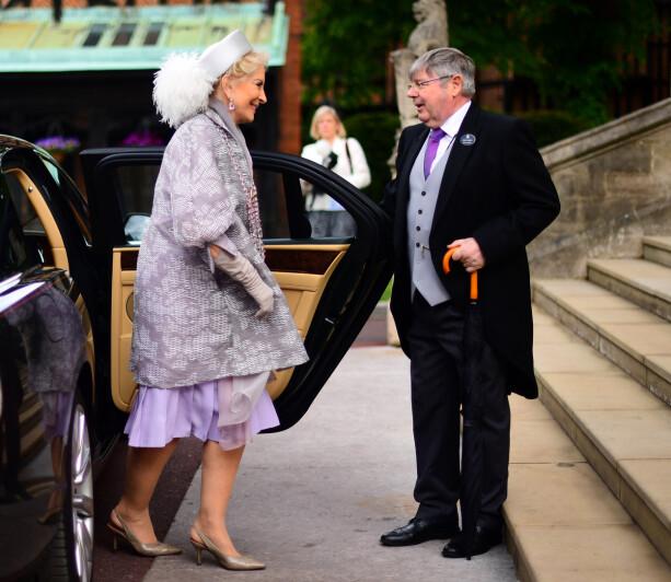 KONTROVERSIELL: Prinsesse Michael av Kent er an av kongehusets mest kontroversielle skikkelser. Her ankommer hun datterens bryllup. Foto: NTB scanpix