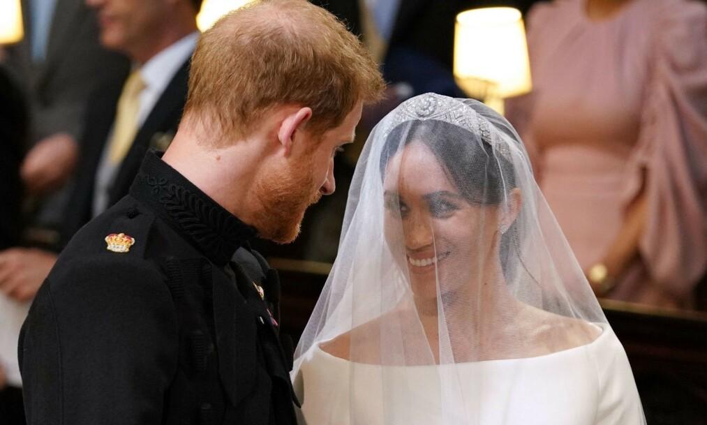 <strong>ETT ÅR SIDEN:</strong> På denne dagen i fjor, den 19. mai, ga prins Harry og hertuginne Meghan hverandre sine ja. Foto: NTB Scanpix