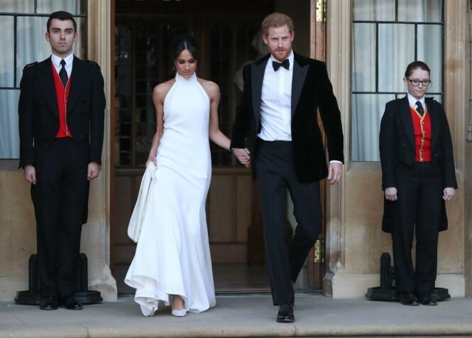 <strong>KLARE FOR FEST:</strong> Det nygifte paret forlot Windsor slott for å reise videre til Frogmore House, der festen fant sted. Foto: NTB scanpix
