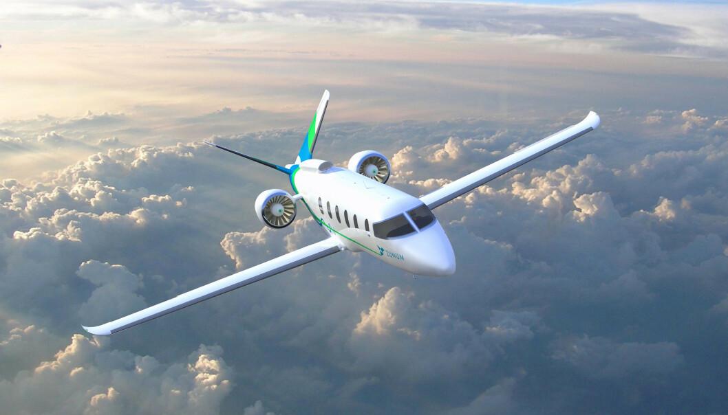 1100 KM: Amerikanske Zunum Aeros elfly av denne typen vil ha en hybridelektrisk rekkevidde på 1100 km med 12 passasjerer ombord. Flyet trenger 670 meter for å ta av fra rullebanen. Illustrasjonsfoto: Zunum Aero
