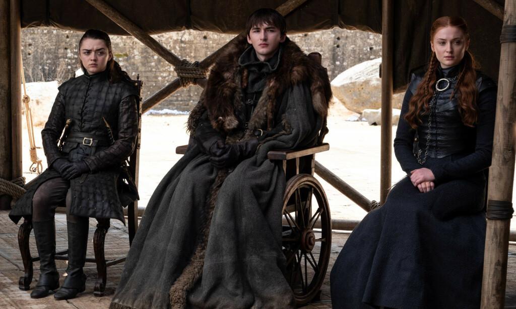 THE PACK SURVIVES: Arya, Bran og Sansa, sammen for siste gang? Foto: HBO NORDIC