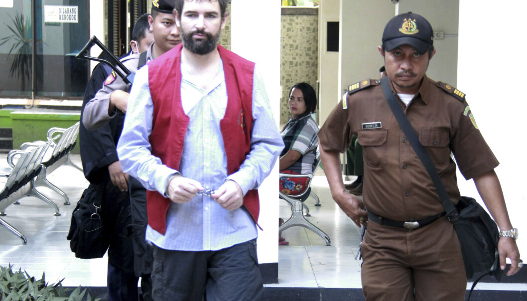 Franske Felix Dorfin, ble mandag dømt til døden for narkotikasmugling i en indonesisk tingrett etter at han sto tiltalt for smugling av 3 kilo narkotika til øya Lombok i september i fjor. Foto: AP / NTB scanpix
