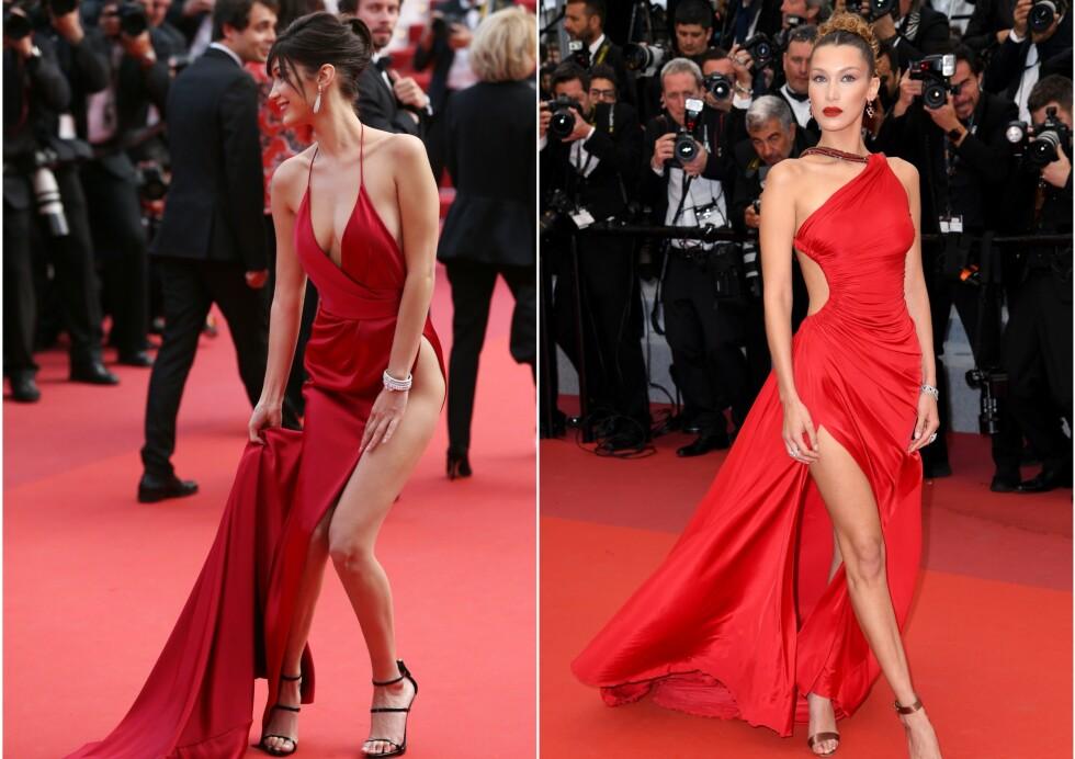 DA OG NÅ: Både i 2016 og i 2019 har Bella Hadid fått «alles» øyne på seg under filmfestivalen i Cannes. Men i år unnslapp hun «trusetabben» hun har slitt med tidligere. Foto: NTB scanpix
