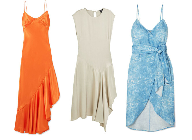 Oransje kjole fra The Line By K via Net-a-porter.com, kr 2800. Beige kjole fra Lindex, kr 999. Blå kjole fra Reformation via Net-a-porter.com, kr 2900.