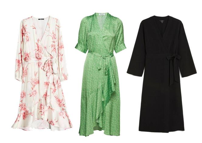 Hvit og rosa kjole fra Gina Tricot, kr 499. Grønn kjole fra Rodebjer via Boozt.com, kr 3395. Svart kjole fra Monki, kr 350.