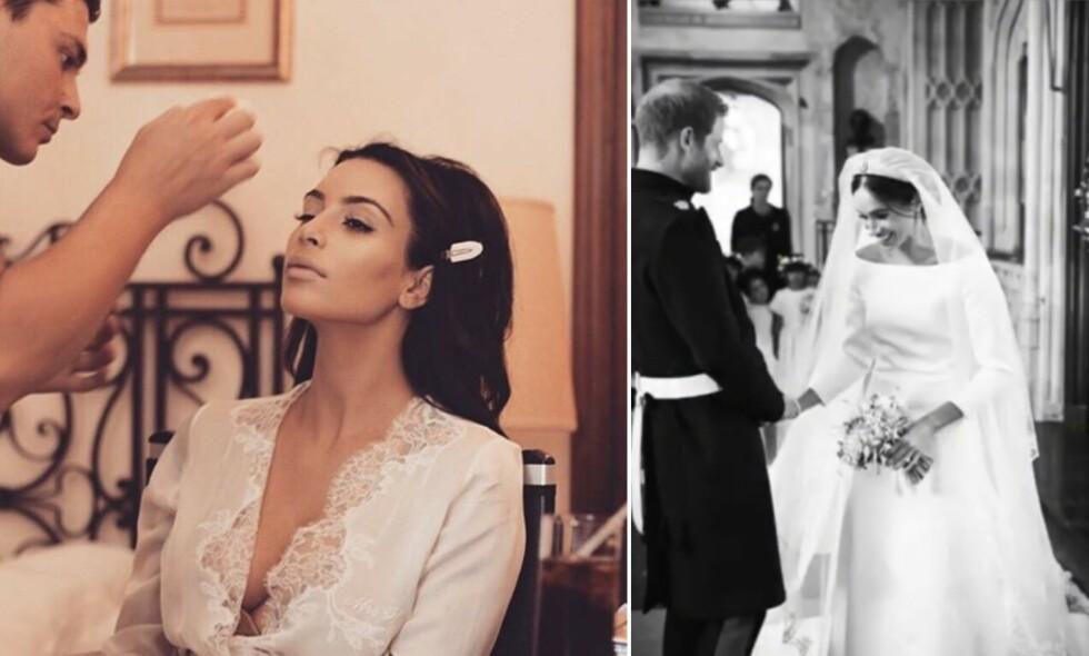 GODT GIFT: Kim Kardashian West og ektemannen Kanye West feirer bryllupsdag 24. mai. Nylig feiret også hertugparet av Sussex, Meghan og Harry, bryllupsdag. Foto: Instagram, Kim Kardashian West / Sussexroyal