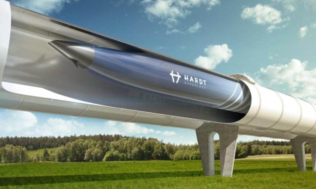 MINIMALE INNGREP: Hyperloop-rør på søyler kan bli en realitet mange steder om noen år. Illustrasjon: Hardt Hyperloop