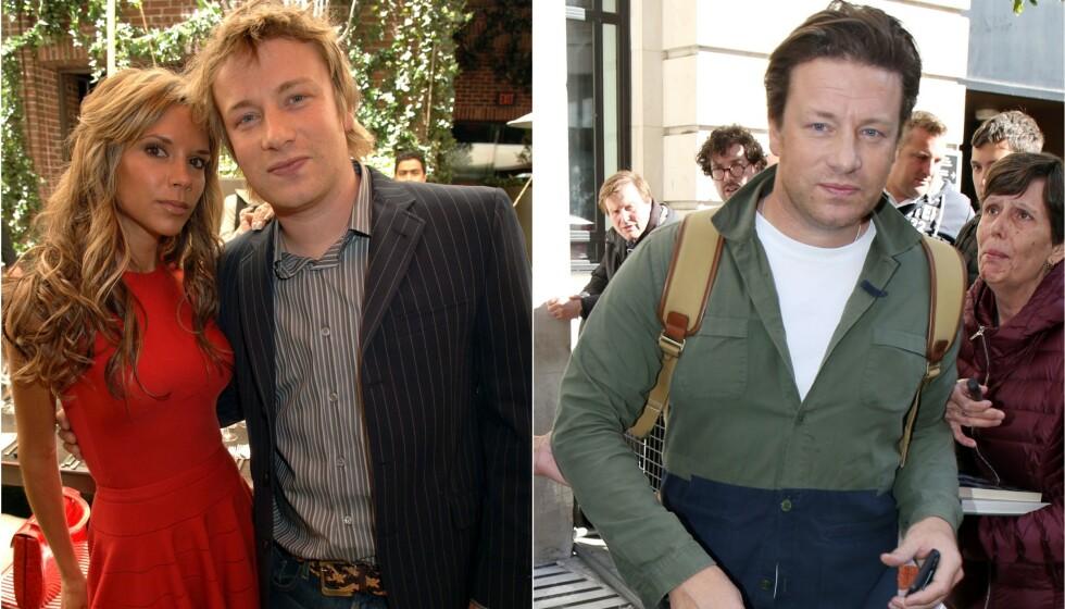 FRA SUKSESS TIL TRØBBEL: Kjendiskokk Jamie Oliver har opplevd det meste gjennom sin karriere. Her avbildet med Victoria Beckham i 2006, og utenfor BBC Radio 2 sitt studio i fjor høst. Foto: NTB scanpix