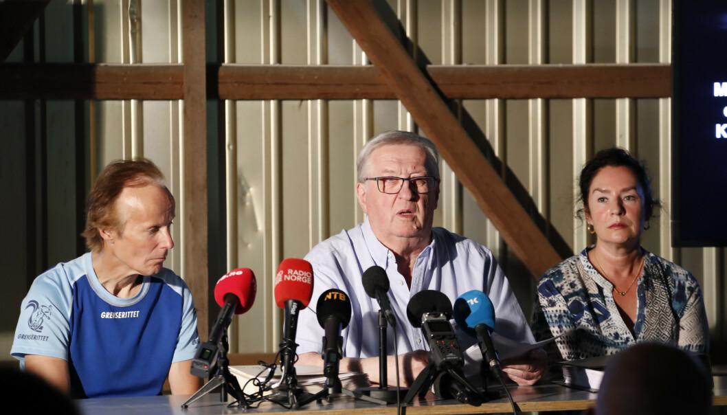 Privatetterforsker Tore Sandberg har begjært NRK-sjef Thor Gjermund Eriksen avgørt i for uttalelser han har gitt om Orderud-saken. Her fra en pressekonferanse med Per og Veronica Orderud. Foto: Cornelius Poppe / NTB scanpix