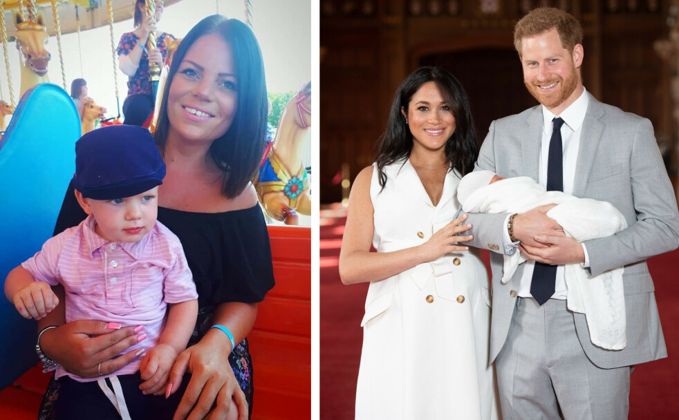 NAVNEBRØDRE: KK har snakket med britiske Emma Kilgour, som fikk sjokk da hun ble klar over at hertuginne Meghan og prins Harry har gitt sin nyfødte sønn et nesten identisk navn som sin egen sønn. For to og et halvt år siden ble hun mor til lille Archie Harrison Windsor. FOTO: Privat // NTB Scanpix